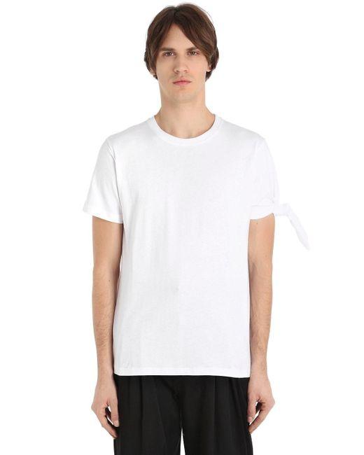 メンズ J.W. Anderson シングルノット コットンジャージーtシャツ White