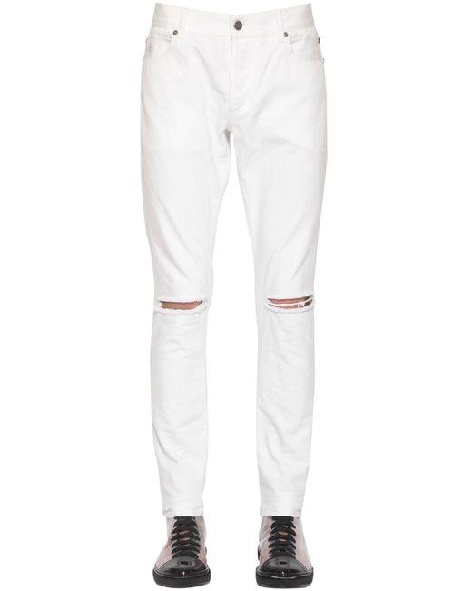 メンズ Balmain コットンデニムスキニージーンズ 14cm White