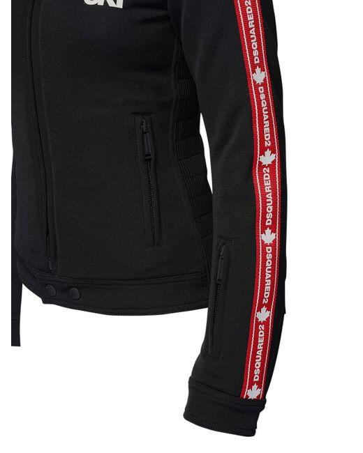 DSquared² Black Blazer Aus Jersey Mit Logostreifen