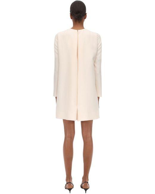 Valentino Couture クレープケープミニドレス White