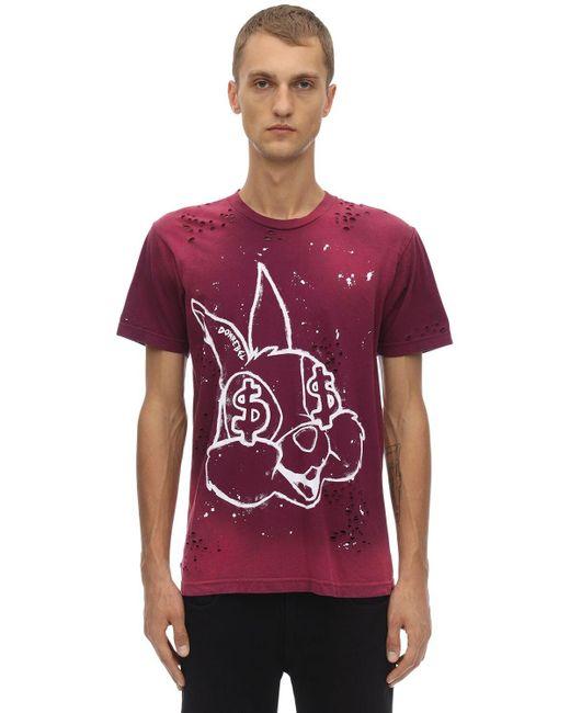 メンズ DOMREBEL Bunnies デストロイドコットンジャージーtシャツ Red