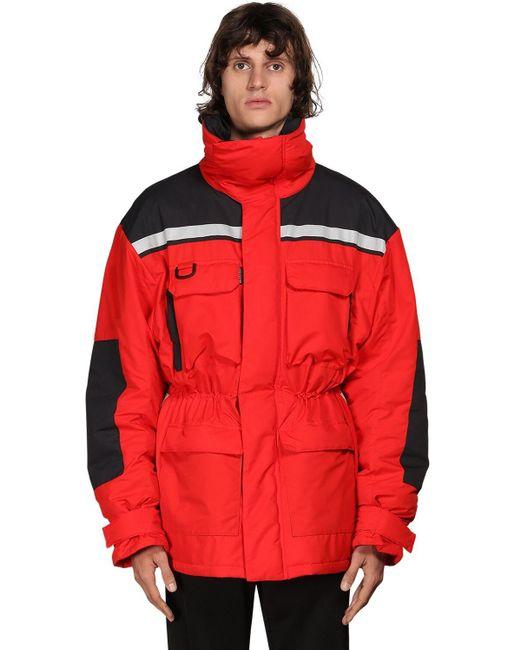 メンズ Balenciaga オーバーサイズナイロンパーカジャケット Red