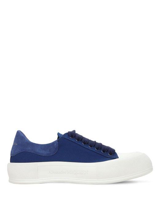 Кроссовки Из Замши И Парусины 45mm Alexander McQueen, цвет: Blue