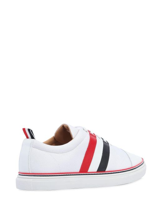 Thom BrowneCOTTON BLEND & LEATHER SNEAKERS