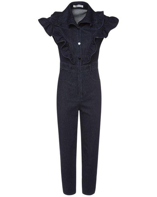 Philosophy Di Lorenzo Serafini コットンデニムフリルジャンプスーツ Blue