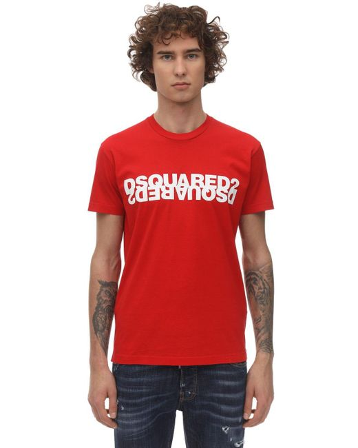 メンズ DSquared² コットンジャージーtシャツ Red