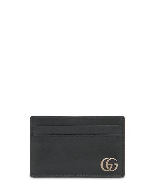 メンズ Gucci Gg Marmont レザーカードケース Black