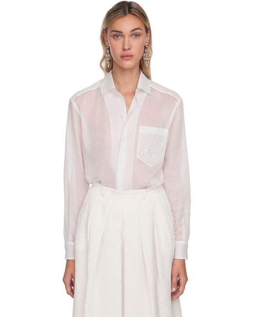 Ralph Lauren Collection コットンシアーシャツ White