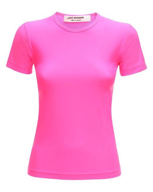 Junya Watanabe ジャージーストレッチナイロンtシャツ Pink