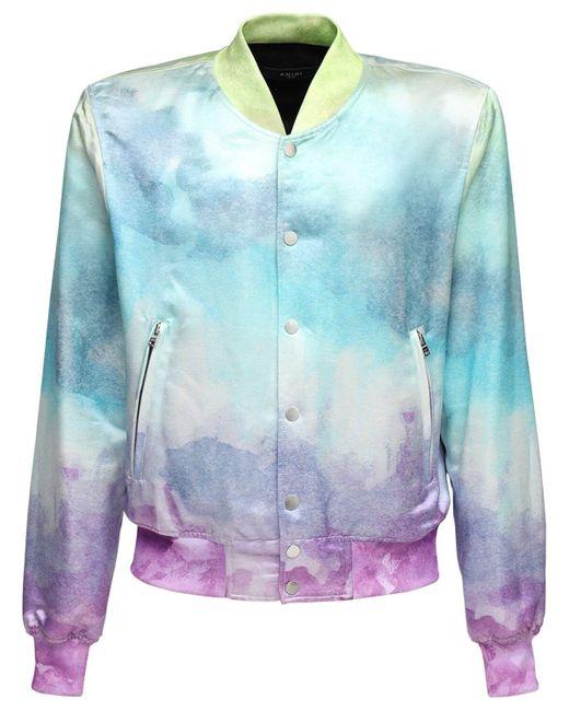 メンズ Amiri Watercolor サテンボンバージャケット Multicolor