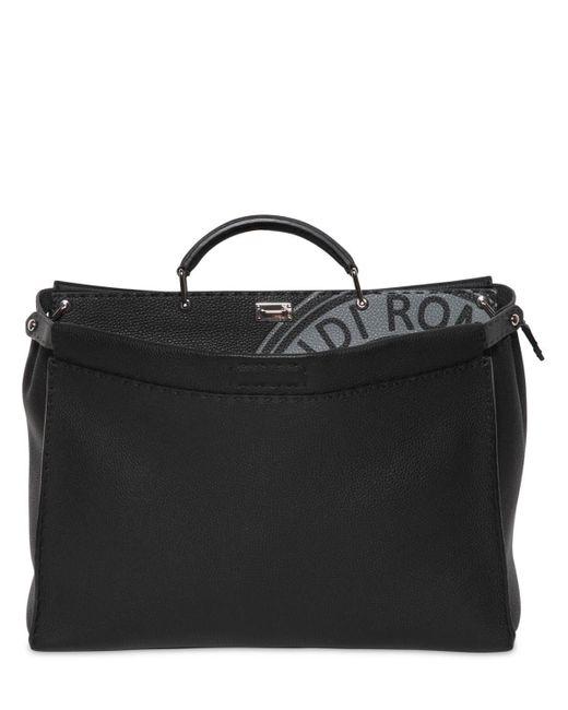 Fendi Gray Medium Peekaboo Tumbled Leather Bag for men