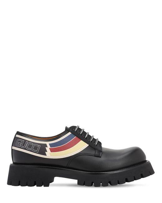 Кожаные Туфли На Шнуровке 15mm Gucci для него, цвет: Black