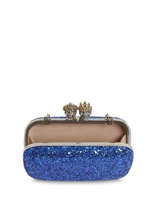 "Alexander McQueen Blue Glitzerclutch ""queen & King"""
