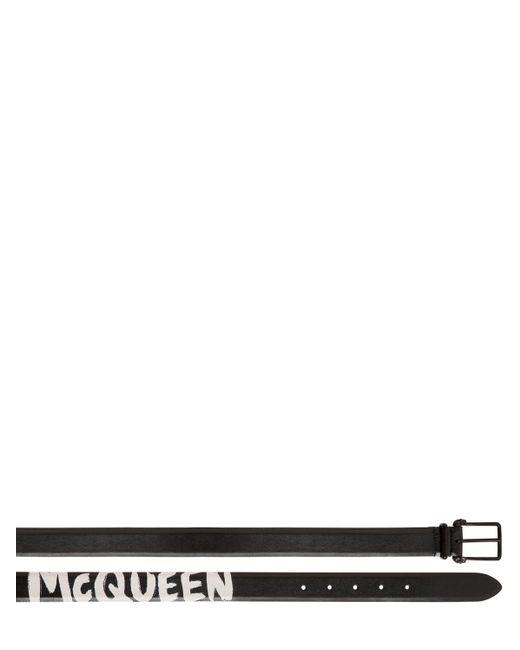メンズ Alexander McQueen リバーシブルレザーベルト 4cm Black