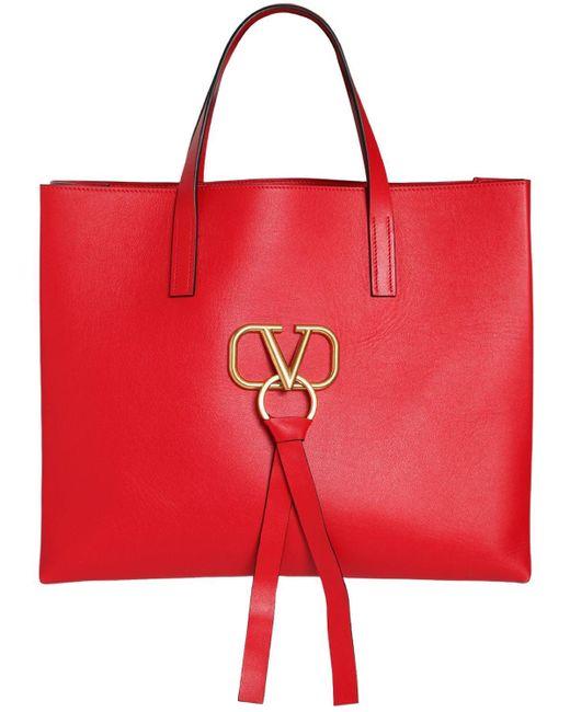 Valentino Garavani V Ring レザートートバッグ Red