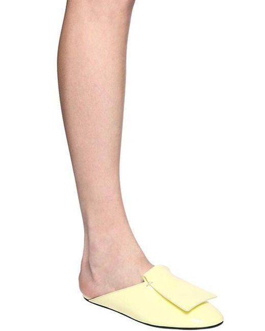 Marni 10mm パテントレザーミュール Yellow