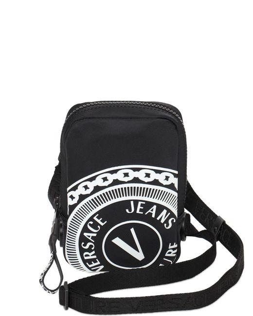 Versace Jeans Black Nylon Logo Crossbody for men