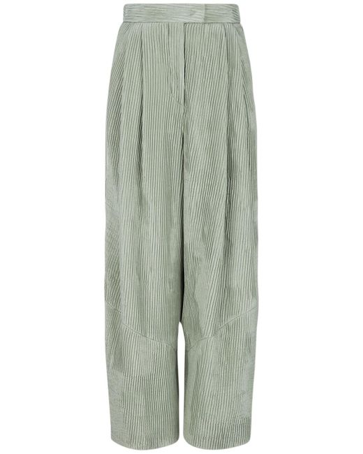 Giorgio Armani シルクサテンワイドパンツ Green