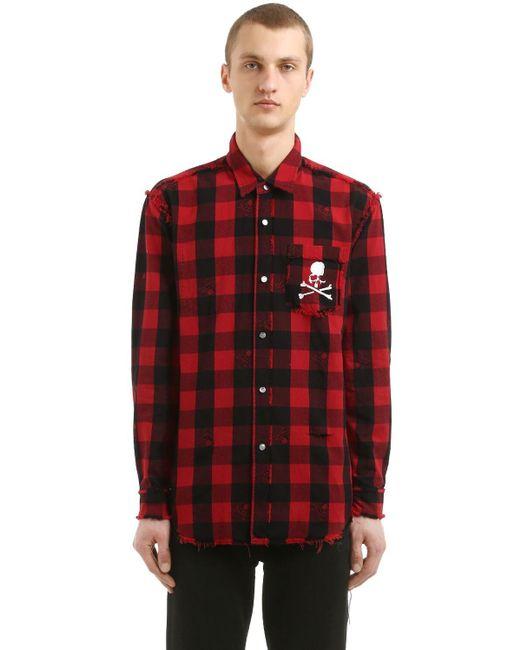 メンズ MASTERMIND WORLD コットンフランネルシャツ Red