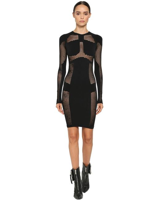 Unravel Project ストレッチメッシュシームレスドレス Black