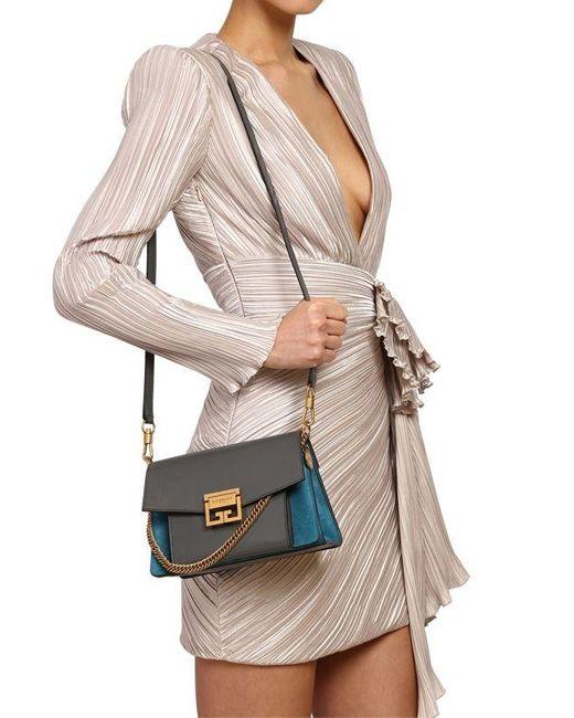 Givenchy G3 スモール レザー&スエードバッグ Gray