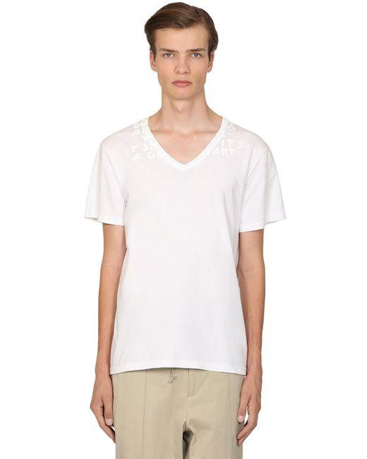 メンズ Maison Margiela コットンジャージーtシャツ White