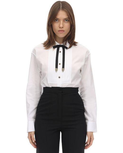 COACH コットンポプリンタキシードシャツ White