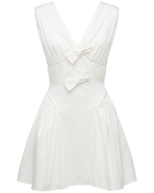 Self-Portrait White Cotton Stretch Mini Dress W/bows