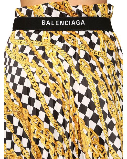 Юбка Миди Из Атласа С Принтом Balenciaga, цвет: Yellow