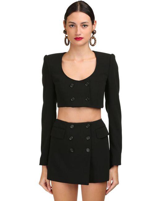 Dolce & Gabbana ウールブレンドクロップドジャケット Black