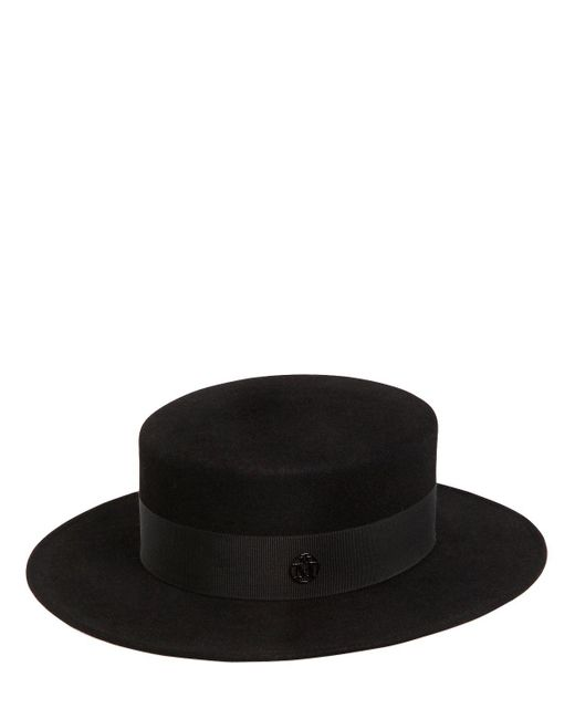 Maison Michel - Black Kiki Rabbit Fur Felt Boater Hat for Men - Lyst