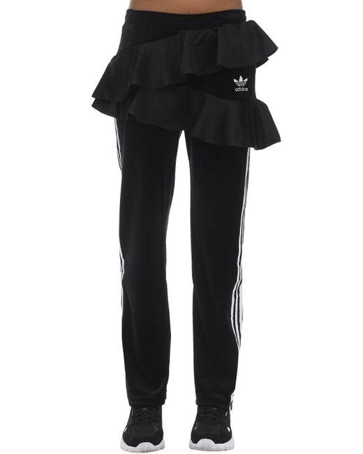 Ruffled Velvet Track Pants Adidas Originals, цвет: Black