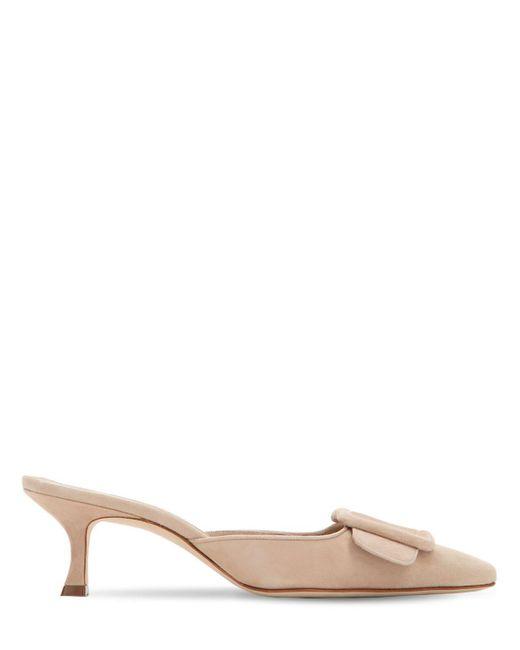 """Zapatos Mules """"Maysale"""" De Ante 50Mm Manolo Blahnik de color Natural"""