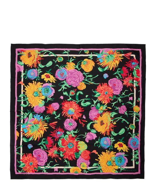 Шарф Из Шелка С Принтом Gucci, цвет: Multicolor