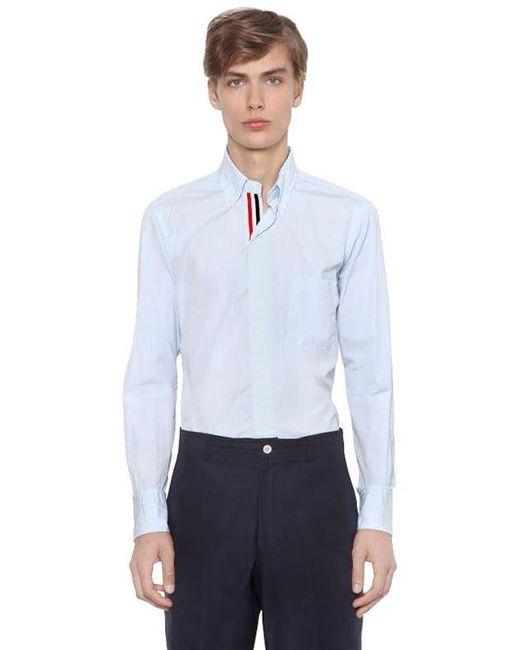 メンズ Thom Browne Cotton Poplin Shirt W/ Grosgrain Detail White