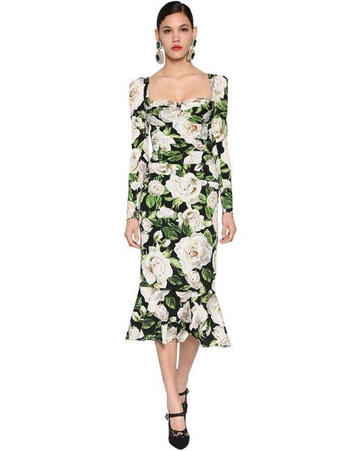 Dolce & Gabbana ストレッチシャルムーズ ドレープミディドレス Green