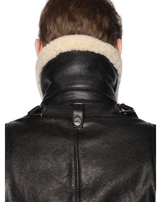 cc16c1a90 DSquared² Leather Bomber Jacket W/ Shoulder Straps in Black for Men ...