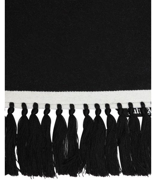 メンズ Palm Angels ウール&コットン ロゴマフラー Black