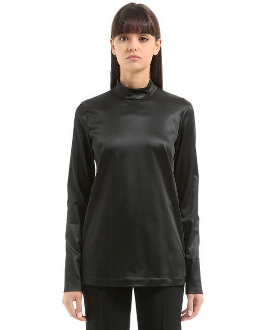 Jil Sander | Black Stretch Satin Shirt | Lyst