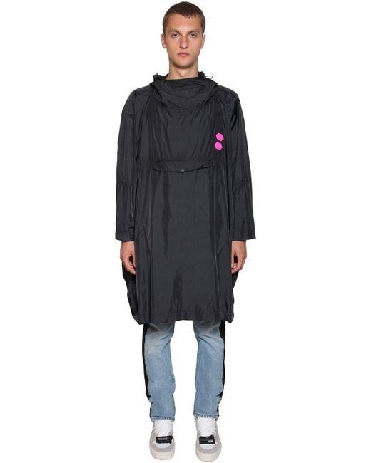 Off-White c/o Virgil Abloh Black Hoodie Logo Patches Nylon Raincoat for men