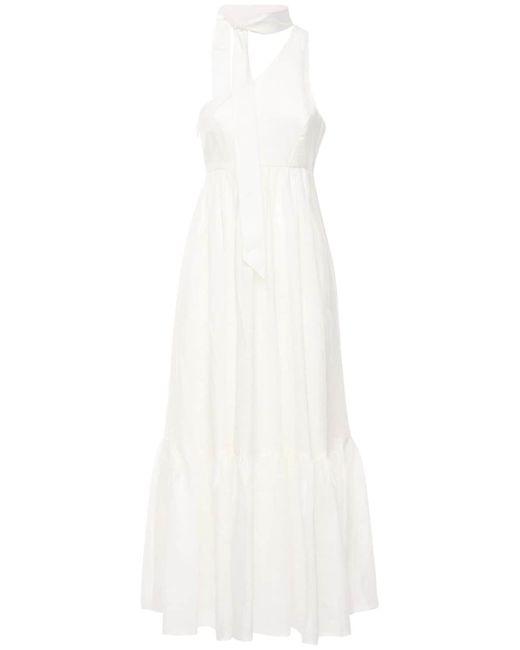 Zimmermann White Juliette One Shoulder Linen Maxi Dress
