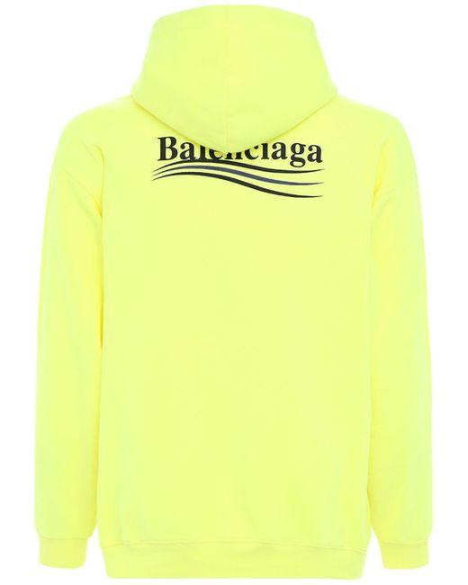 メンズ Balenciaga Political コットンスウェットフーディー Yellow