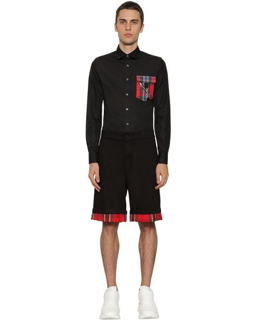 メンズ Alexander McQueen ブラック コントラスト ポケット シャツ Black