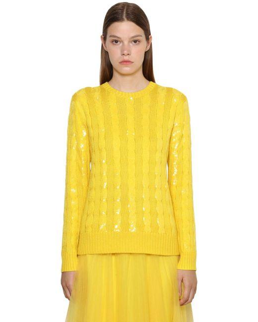 Ralph Lauren Collection ケーブルシルクセーター Yellow