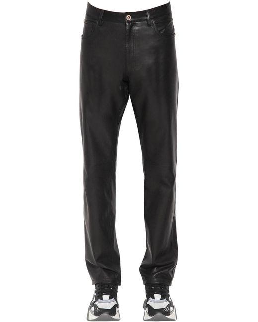 メンズ Versace レザースリムパンツ 17cm Black
