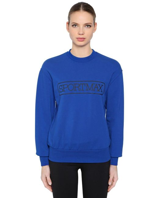 Sportmax コットンブレンドスウェットシャツ Blue