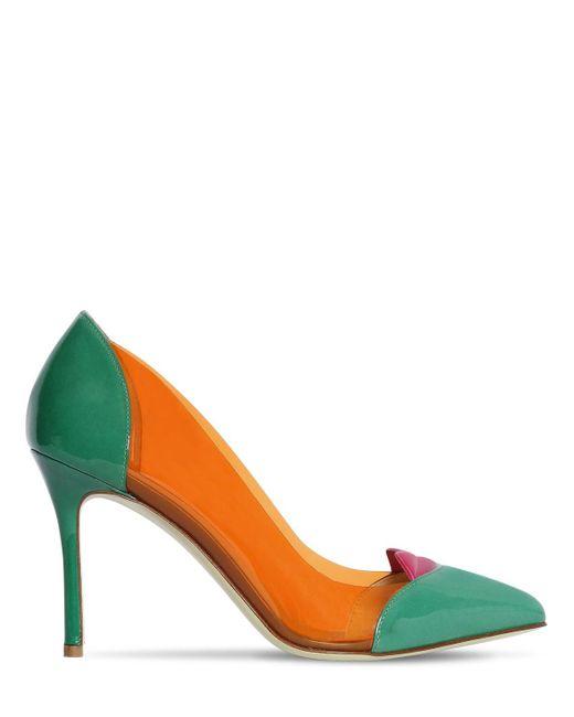 Giannico 100mm Lola Plexi & Patent Leather Pumps Multicolor