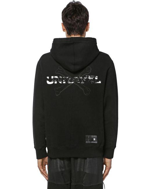 メンズ Unravel Project コットンジャージースウェットフーディー Black