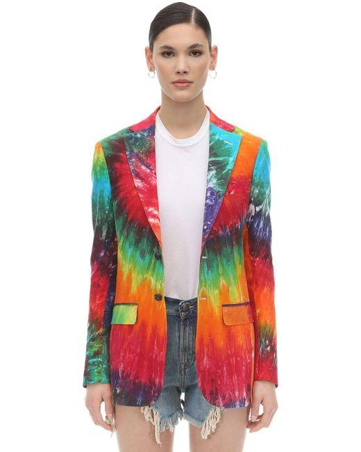 R13 Rainbow タイダイリネンジャケット Multicolor
