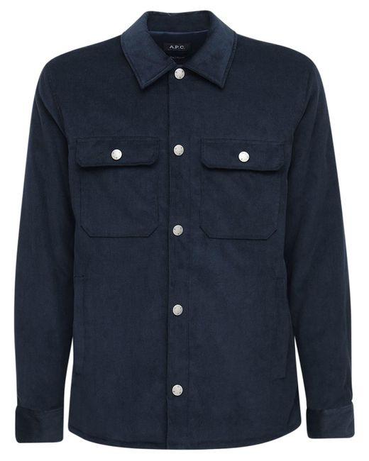 メンズ A.P.C. ベルベットコットンシャツ Blue